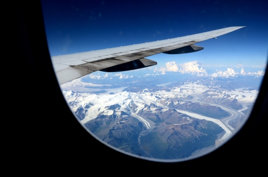 Flying over Alaska on our way to Japan