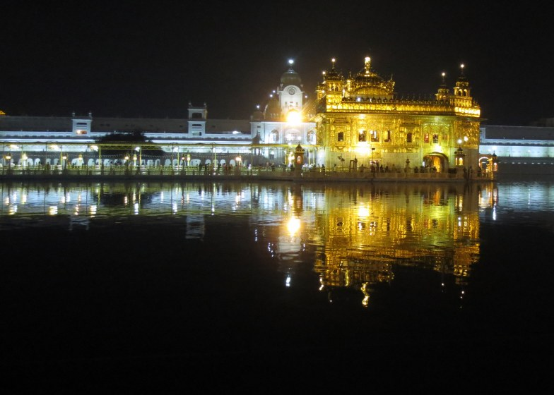 Golden temple at night