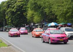 Hot Pink and Orange taxis