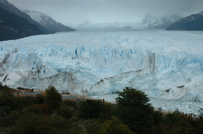 Notice the size of the people against the glacier