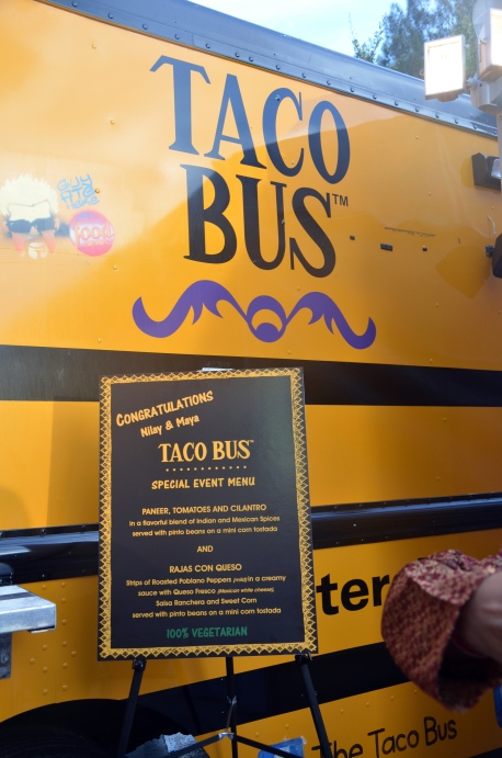They had their own taco bus at the engagement party!